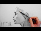Tutorial | How to shade, blend realistic skin with graphite pencils on grey paper | Emmy Kalia