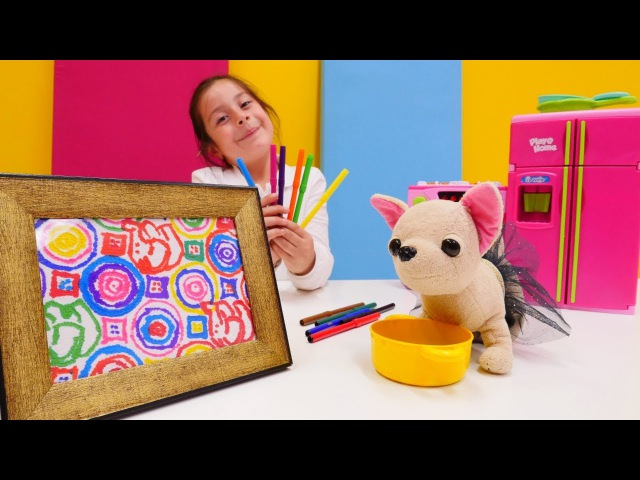 Eğiticivideo.Dila Nisa peçete boyuyor ve resim yapıyor! Eğlenceli çocukvideosu