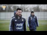 Лео Месси на тренировке сборной Аргентины в Москве