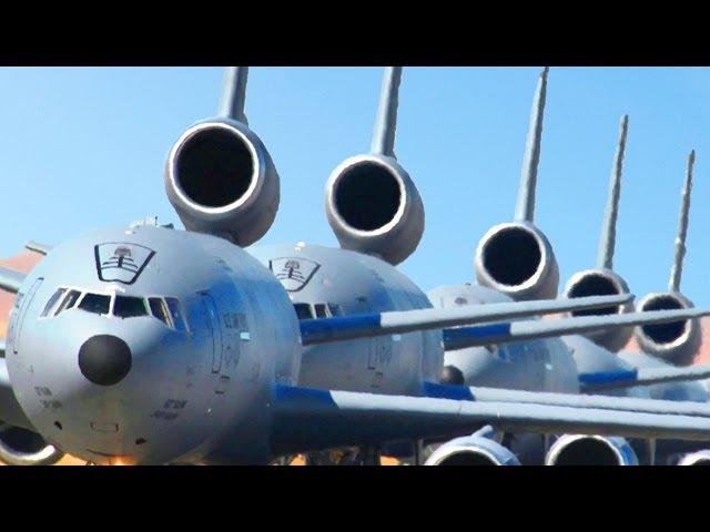 Massive Amount of US KC-135 and KC-10 During Emergency Take-off B-52 Air Refuel