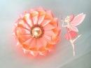 Двухцветная зефирка из лент Из отдельных лепестков Мастер класс канзаши