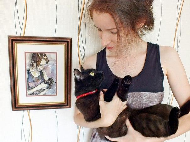 Повторили наш с Нукой портрет, написанный рукой моей сестры. А котик то подрос!