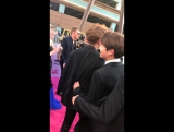 TheChainsmokers & BTS hanging out on the magenta carpet at the BBMAs