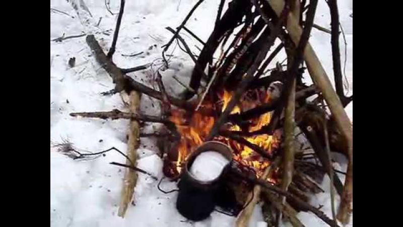 Лижі, ліс, пес, чай і сало.