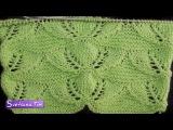 Крупный ажурный узор с листьями - схема и описание # 491