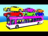 Color cars on bus wih spiderman and superheroes 3d animation for babies