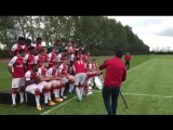 It's first-team photo day at London Colney - and Mesut Ozil had a surprise for one lucky Junior Gunner