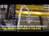 Робот-змея из металлизированных баллонов
