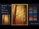 How to draw - Sun ray in a beautiful nature - soft pastel