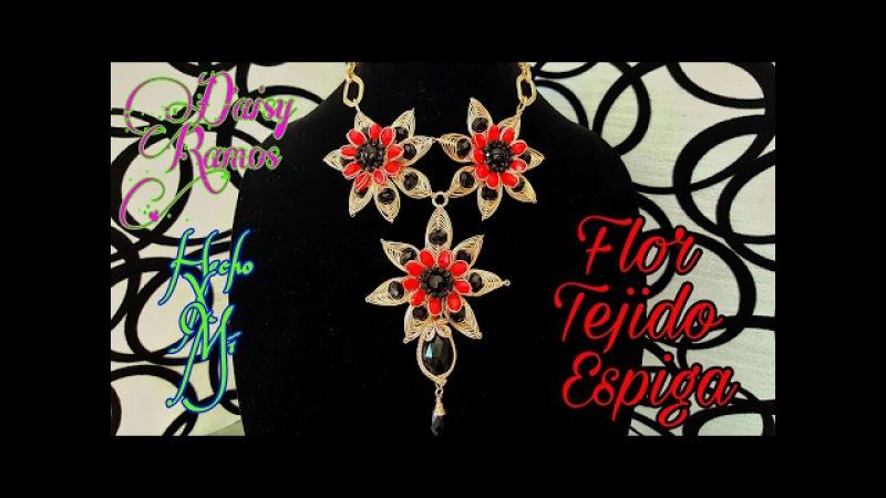 Collar con Flores en Tejido Espiga, Alambrismo DIY