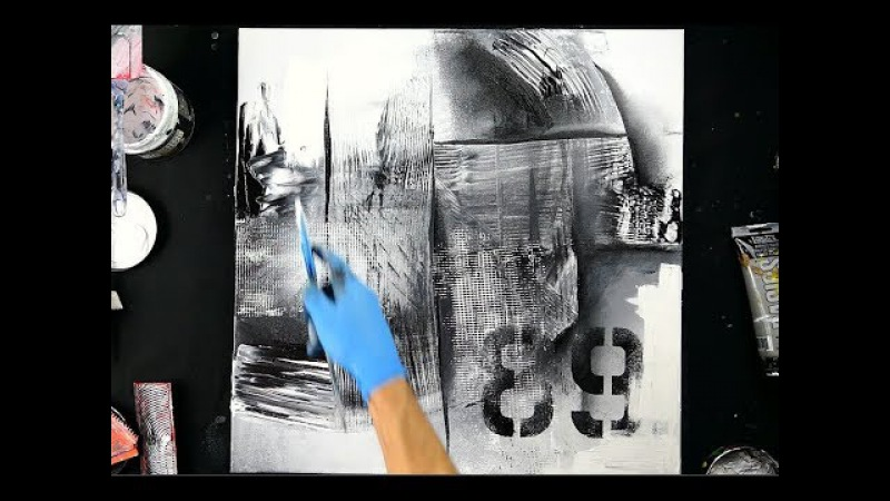 PAINT BLACK AND WHITE ABSTRACT PAINTING WITH SPATULA, MESH, WOOD GRAIN TOOL,STENCIL, ACRYLIC PAINT