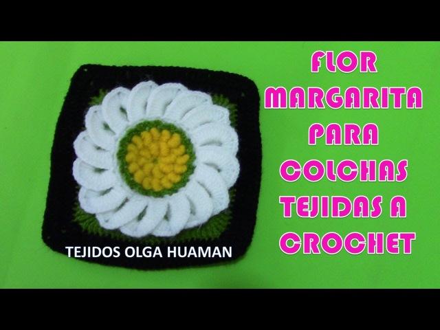 Cuadro o cuadrado a crochet Flores Margaritas para colchas y cojines paso a paso