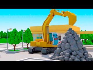 Bagger Kinderfilm - Der Gelbe Bagger auf baustelle - Maschinen-Team - Cartoon für Kinder