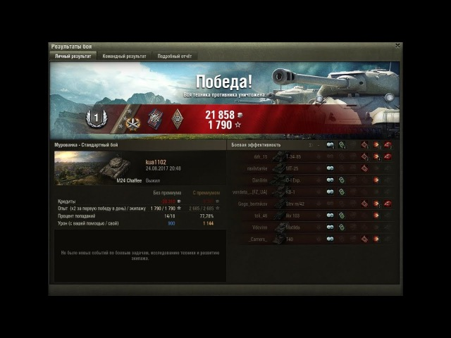 [World of Tanks] Набираем на M24 Chaffee третью отличительную отметку [патч 0.9.19.1]