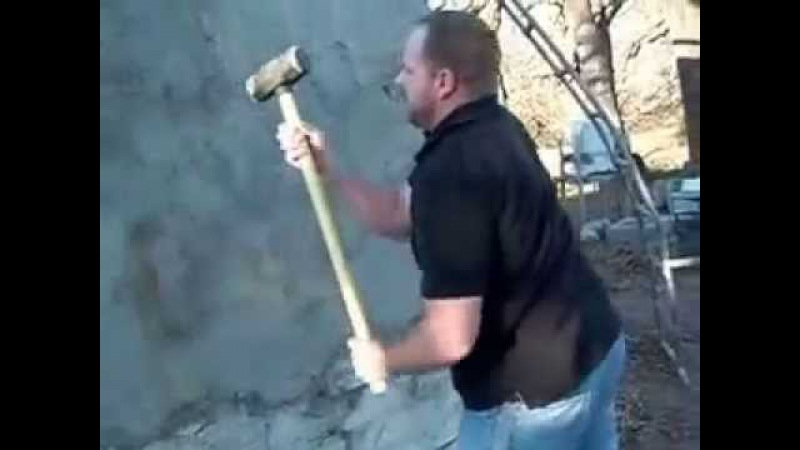 Large dude with sledgehammer vs styrofoam dome