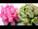 Flowers with ribbon, easy, Kanzashi flowers tutorial / Цветы канзаши из лент