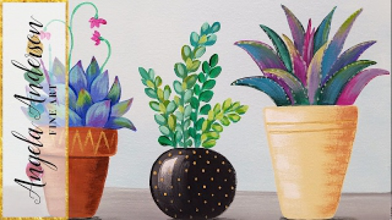Acrylic Painting Tutorial Succulents in Pots LIVE Stream Lesson