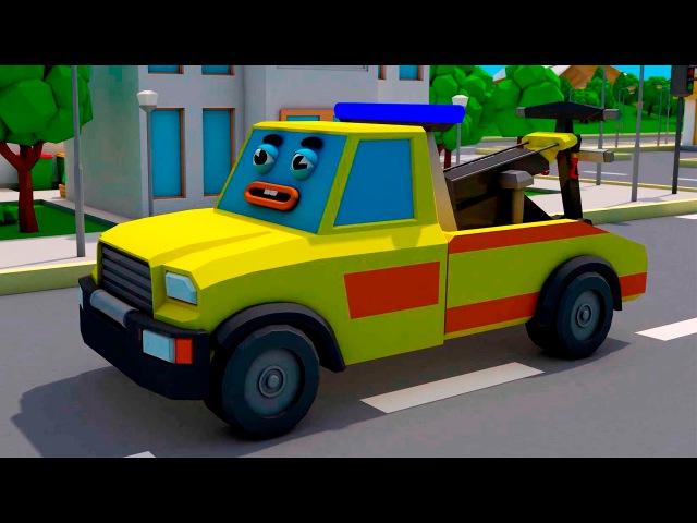 Der Abschleppwagen und der Krankenwagen in der Stadt | Lastwagen Bau-Cartoon für Kinder