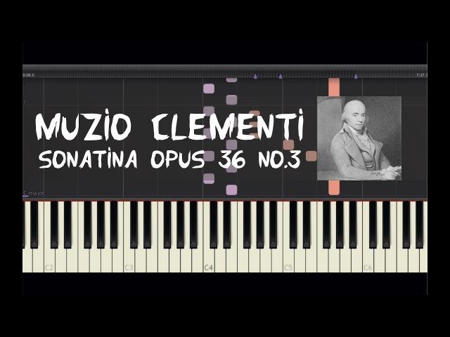 Muzio Clementi - Sonatina Opus 36 No.3 - Piano Tutorial by Amadeus (Synthesia)