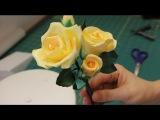 (https://vk.com/lakomkavk) Часть 2. Как собрать розу с листьями из сахарной мастики.