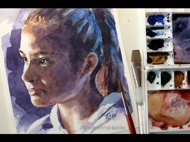 Watercolor portrait sketch demo painting by Ch.Karron