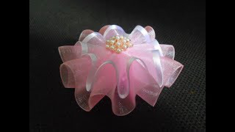 Бант-цветок из органзы МК/Bow- flower from ribbon. DIY/Arco de fita.Tutorial