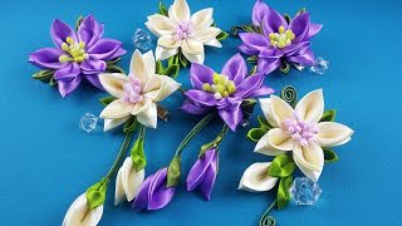 Ribbon flowers:hairpins set/Flores de cintas:conjunto de pelo clips/Цветы из лент:набор заколок.МК