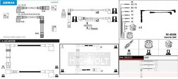 Комплект проводов зажигания для AUDI V8 (44_, 4C_)