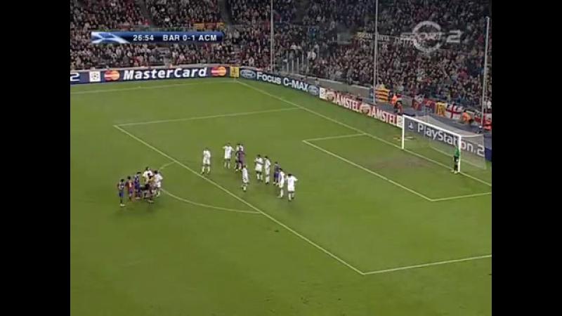 ЛЧ 2004 05 Группа F 4 тур Барселона Милан 2 1 1 тайм
