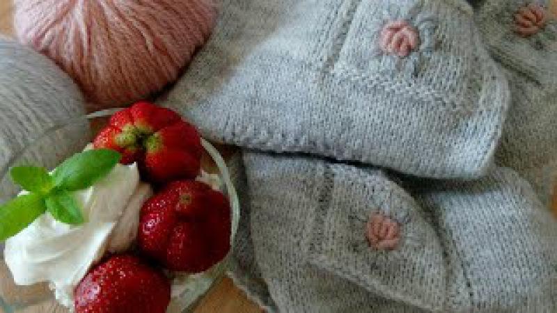 Кофта Розочки в серой дымке спицами / Часть 2 - спинка готова, вышиваем розочки