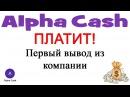 Alpha Cash ПЛАТИТ! Первый вывод из компании Альфа Кеш.