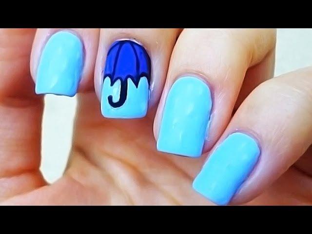 Простой дизайн ногтей - зонтик