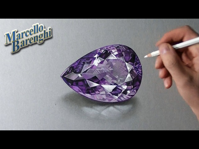 How I draw an amethyst gemstone
