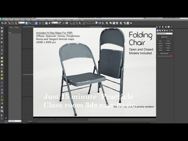 3dsmax tutorial - 15' to folding chair model