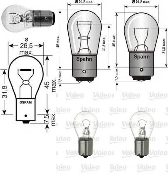 Лампа накаливания, фонарь сигнала тормож./ задний габ. огонь для AUDI A2 (8Z0)