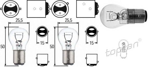 Лампа накаливания, фонарь указателя поворота; Лампа накаливания, фонарь сигнала тормож./ задний габ. огонь; Лампа накаливания, задняя противотуманная фара; Лампа накаливания, фара заднего хода; Лампа накаливания, задний гарабитный огонь для AUDI A2 (8Z0)