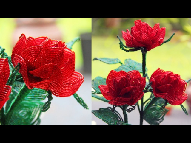 French beaded rose tutorial by Bead Flora Studio