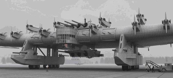 """Опытный Советский летающий крейсер """" Калинин-7"""" 1932 год."""