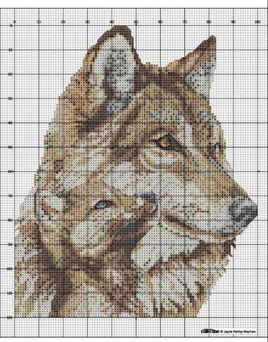 вышивка крестиком волки схемы