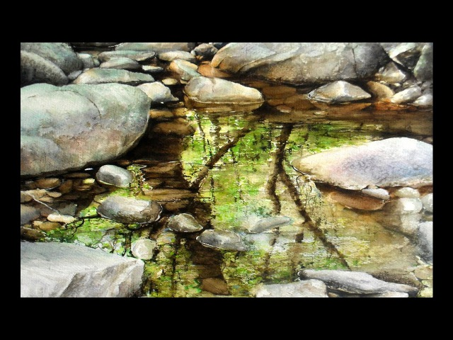 Stones,rocks and reflections. Watercolor painting by Rukiye Garip