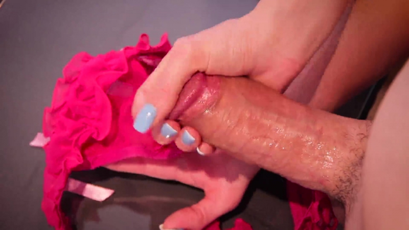 She makes him cum in her panties and then wears