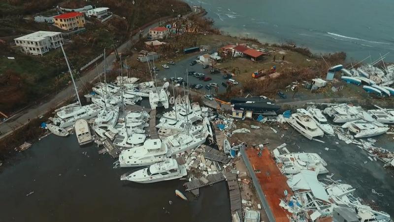 Nanny Cay Marina the day after Hurricane Irma