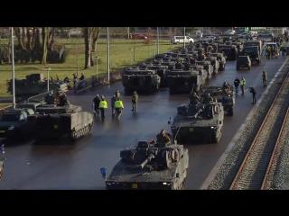 """ВС Нидерландов во время переброски своей техники в Польшу на учения """"Bison Drawsko 2017"""" , январь 2016 года"""