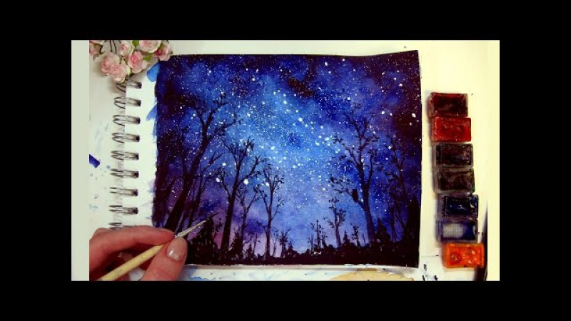 Night Sky - Speed Painting [Watercolor Gouache]