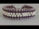 Beaded Bracelet with 3mm and 4mm pearls and bicones. Браслет из бисера жемчуга и биконусов