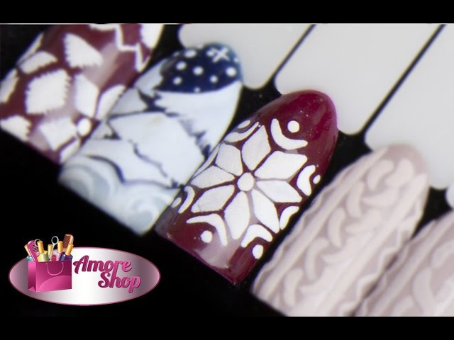 ❅ Новогодний дизайн ногтей Снежинка на ногтях в скандинавском стиле ❅ Мастер-класс от AmoreShop