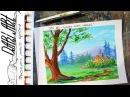 Как нарисовать яркий летний пейзаж гуашью/акрилом! Dari_Art