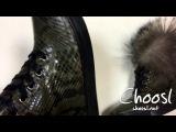 Кеды из натурального питона и меха, цвет хаки   Choosl