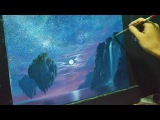 Acrylic Landscape Painting Lesson - Fantasy Moonlight with waterfalls and floating islands
