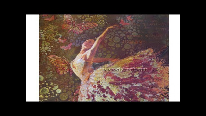 Flying Ballerina. Mixed media decoupage tutorial - DIY How to make Mixed Media on canvas